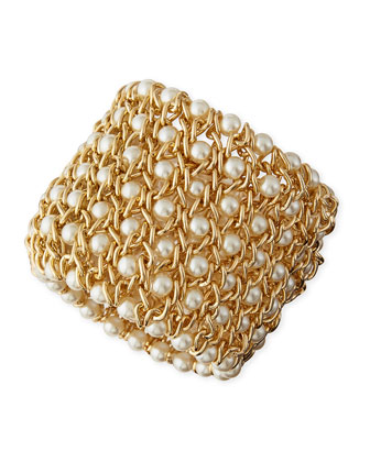 Gold-Plated Mesh Bracelet with Simulated Pearls