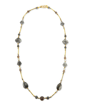 Long Gray Stone Necklace, 46
