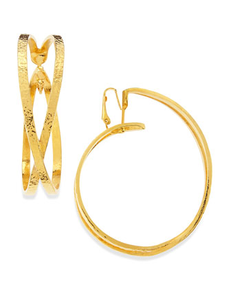 24k Gold Plated X Hoop Clip-On Earrings