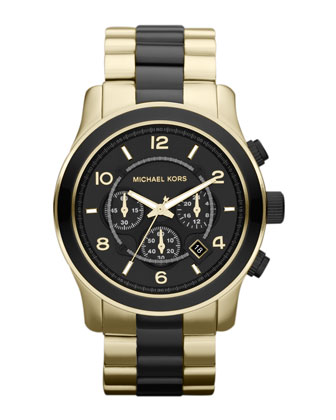 Black and Golden Stainless Steel Runway Chronograph Watch