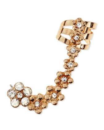 Crystal-Studded Daisy Ear Cuff