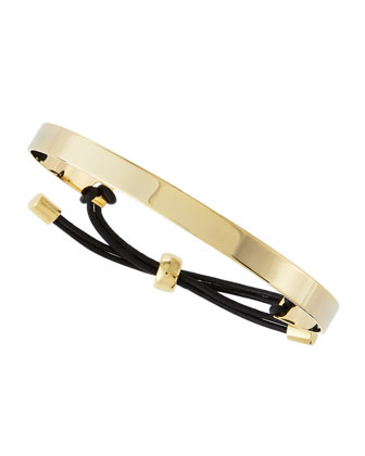 Adjustable ID Bracelet, Black/Golden