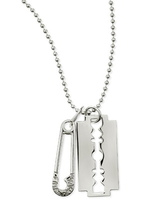 Razor Pendant Necklace, Silvertone