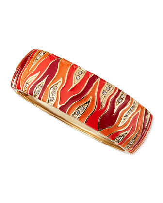 Wide Zebra Bangle, Orange