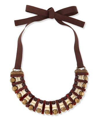 Lodevole Horseshoe Bib Necklace, Brown