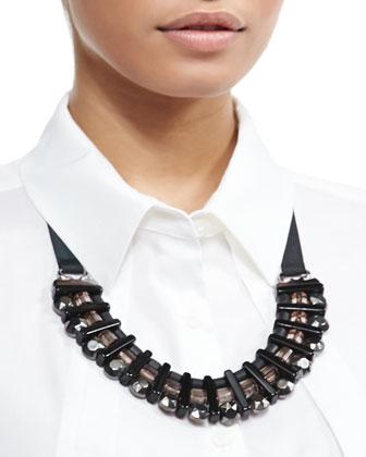 Lodevole Horseshoe Bib Necklace, Black