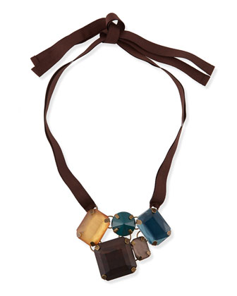 Lode Crystal Necklace, Brown/Blue