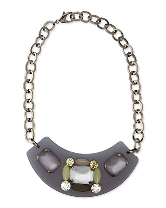 Lulu Acrylic & Crystal Bib Necklace