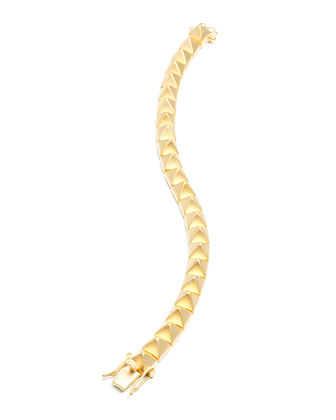 Matte Yellow Gold Plated Pyramid Tennis Bracelet