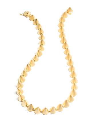 Matte Yellow Gold Plated Cone Necklace