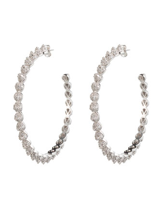 Rhodium Plated Pave Crystal Hoop Earrings with Cones