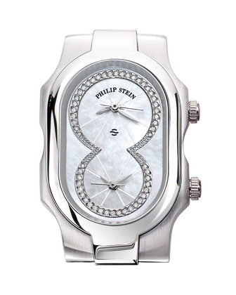 Small Signature Mother-of-Pearl Diamond-Dial Watch Head & 18mm Stainless ...