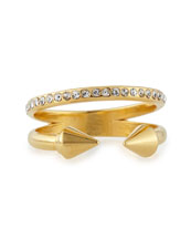Ultra Mini Titan Plain and Crystal Ring, Yellow Golden