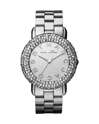 Marci Pave Crystal Stainless Analog Watch