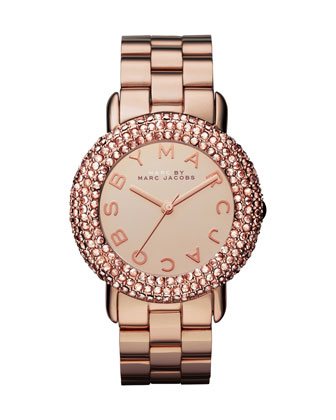 Marci Pave Crystal Rose Golden Analog Watch