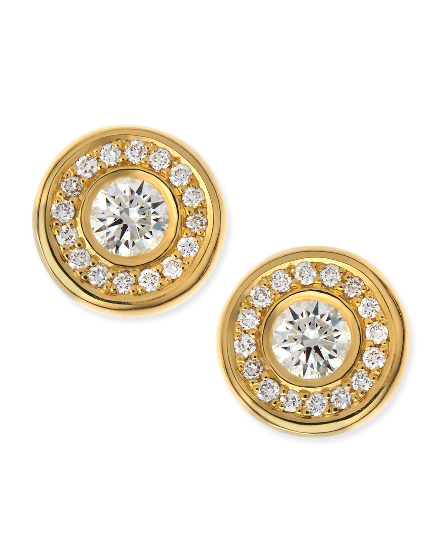 18 karat Yellow Gold Diamond Stud Earrings   Roberto Coin   Yellow gold