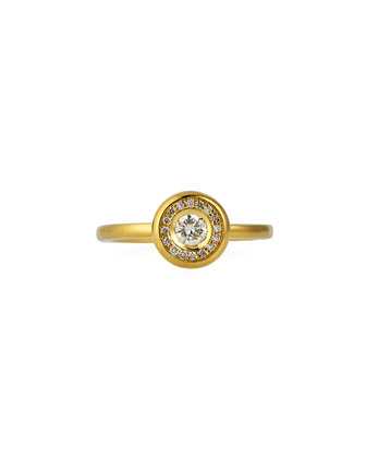 18k Yellow Gold Pave Diamond Ring