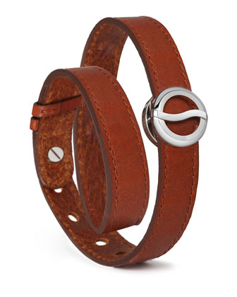 Leather Horizon Double-Wrap Bracelet, Brown/Stainless