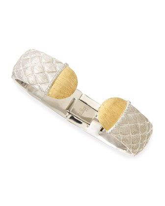 Quilted Silver Cuff with Diamond & Gold Caps