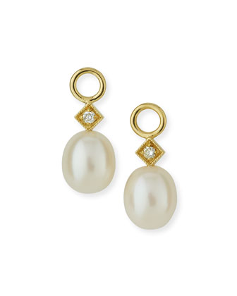 White Pearl Briolette Earring Charms