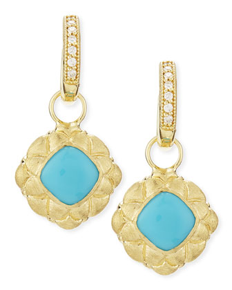 Quilted Bezel Turquoise Earring Charms