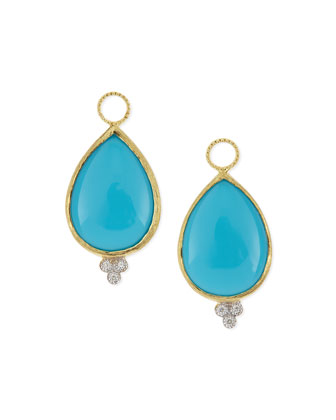 Large Pear Turquoise Earring Charms with Diamonds