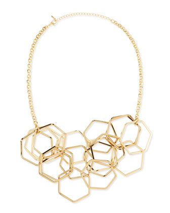 Hexagon Chain Necklace, Yellow Gold