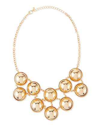 Ball Bib Necklace, Yellow Gold-Plate