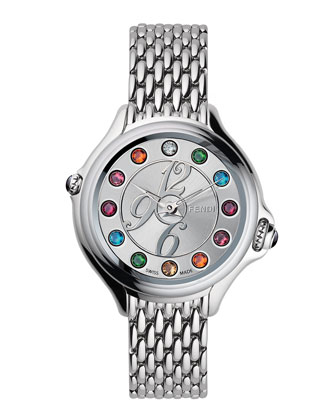 Steel Dial Crazy Carats Topaz & Diamond Watch, Multicolor/Pink/Blue