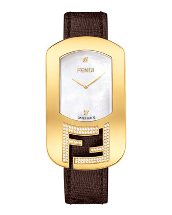 Chameleon Yellow Goldtone Watch with Diamonds, Espresso