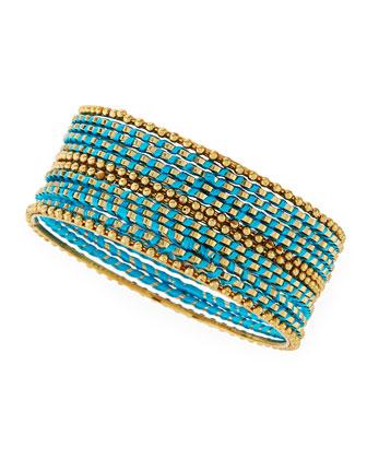 Skinny Beaded Wrap Bangles, Turquoise
