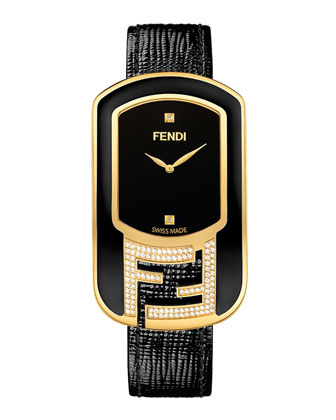 Chameleon Black Enamel & Yellow Goldtone Watch with Diamonds