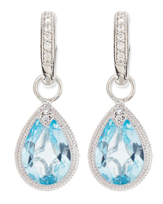 Pear Blue Topaz Earring Charms with Diamonds