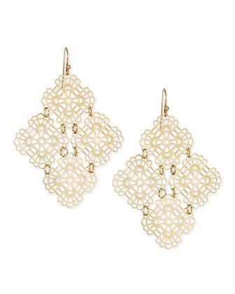Diamond-Designed Flower Earrings, Yellow Golden