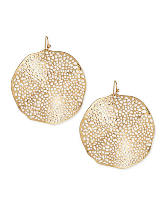 Large Hammered Plate Earrings, Golden