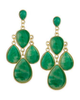 Emerald Chandelier Earrings, Golden