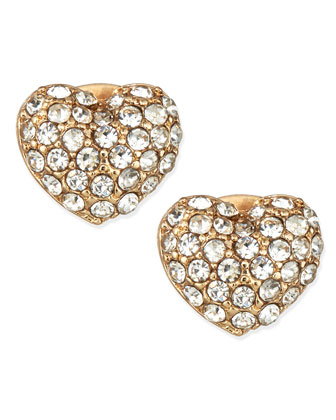 Crystal Heart Stud Earrings, Golden