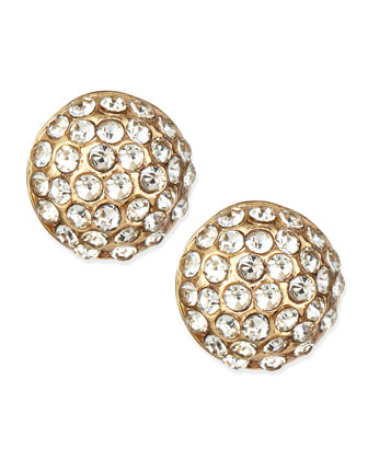 Crystal Round Stud Earrings, Golden
