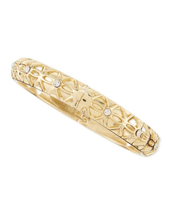 Skinny Hinged Golden Crystal Bangle