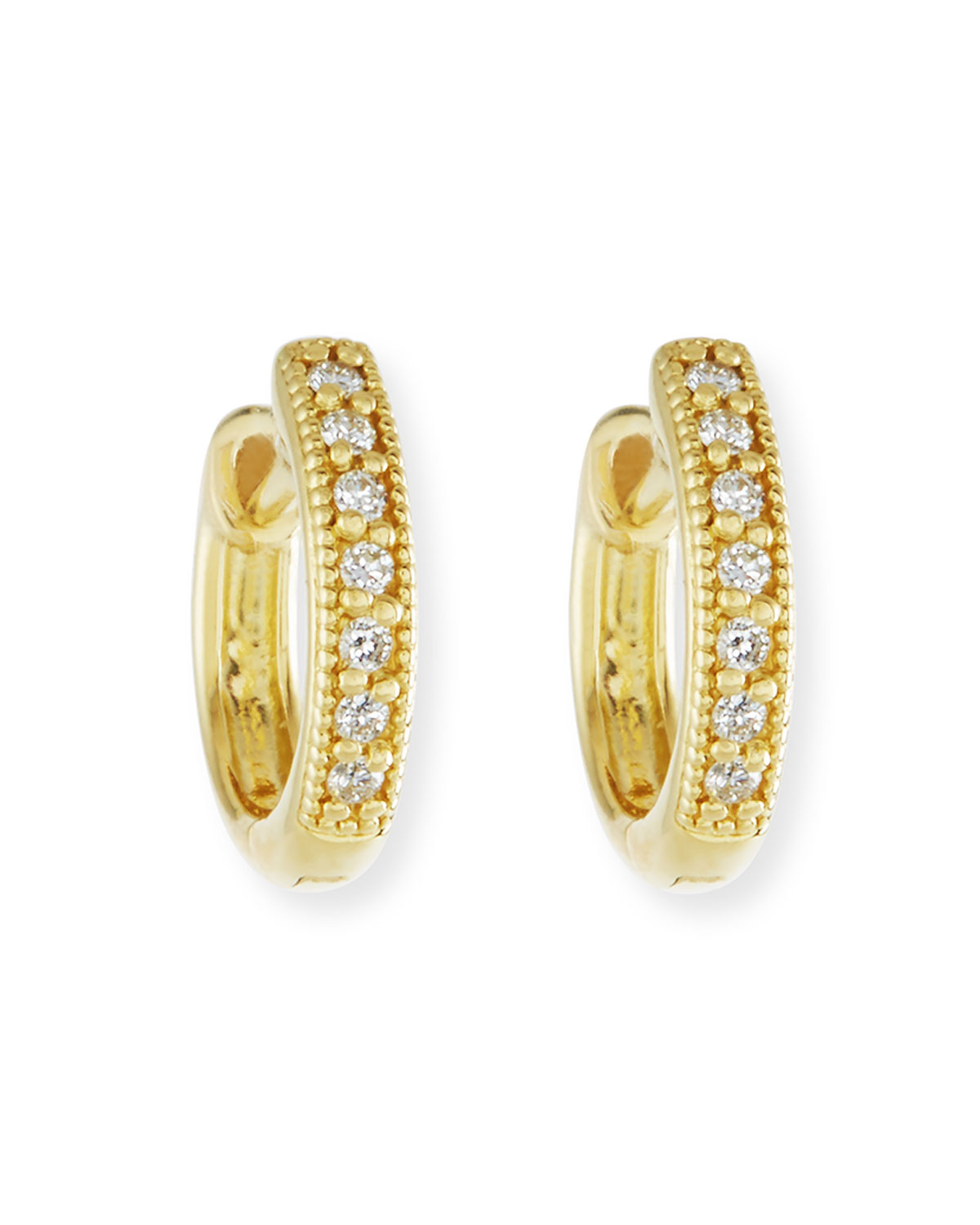 Small 18k Gold Hoop Earrings with Diamonds, 11mm - JudeFrances Jewelry