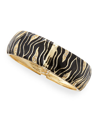 Wide Zebra Bangle, Black