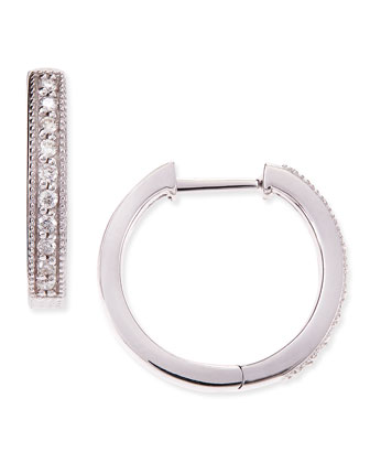 18k White Gold Camelia Hoop Earrings with Diamonds, 16mm