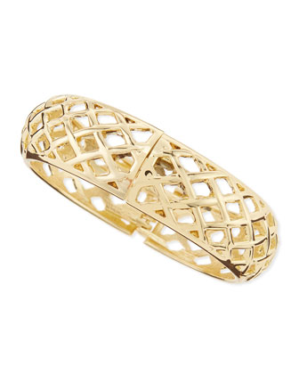 Wide Golden Open-Basketweave Bangle