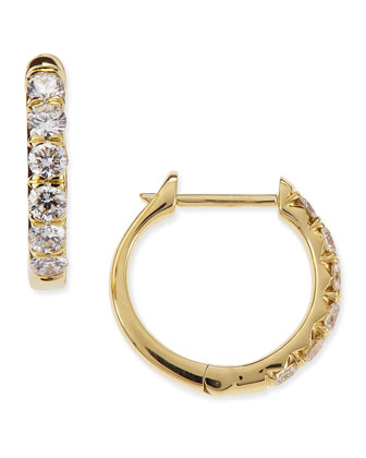 Jude 18k Yellow Gold Huggie Hoop Earrings with Diamonds, 14mm