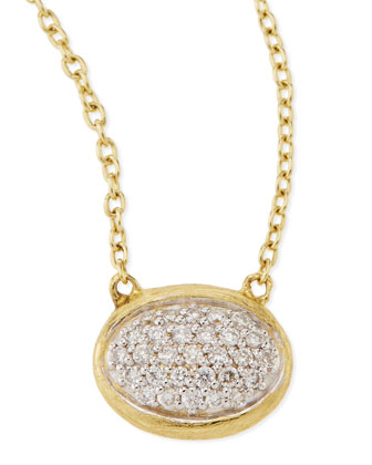 Oval Pave Diamond Pendant Necklace