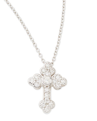 Tiny White Diamond Guinevere Cross Necklace
