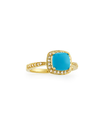 Small Princess Turquoise Ring with Diamonds