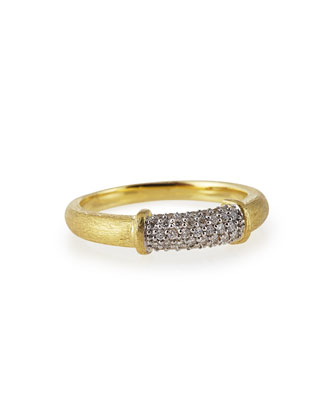 Brushed 18k Gold Stackable Band Ring with Pave Diamonds