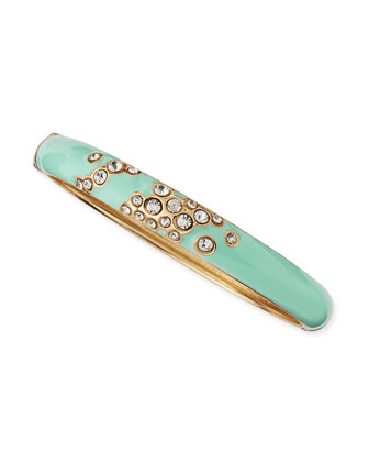 Escaping Bubbles Skinny Hinged Enamel Bangle, Mint