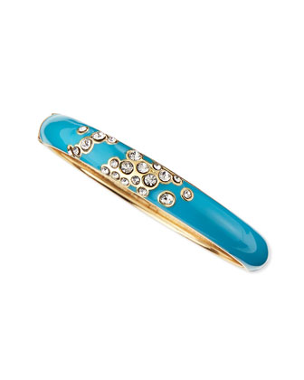 Escaping Bubbles Skinny Hinged Enamel Bangle, Blue